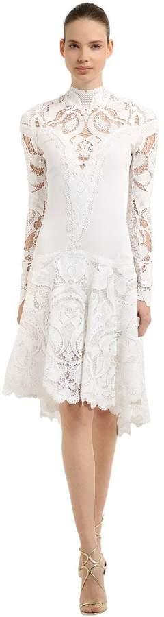 Jonathan Simkhai Flared Crepe & Lace Dress
