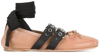 Miu Miu Ankle Strap Buckled Ballerinas
