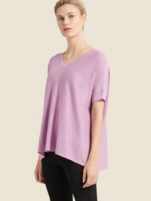 DKNY Donna Karan Women's V-neck High-low Sweater - Lavender - Size XX-Small