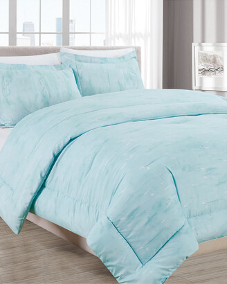 Melange Home Barbarian Sleepy Texture 3Pc Comforter Set Turquoise