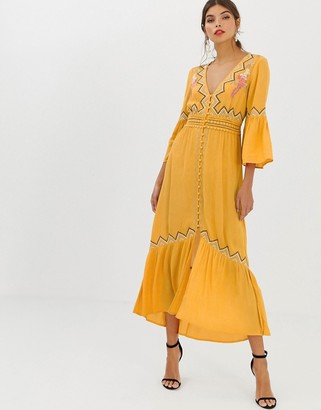 Asos Design DESIGN lace insert maxi dress with embroidery-Yellow