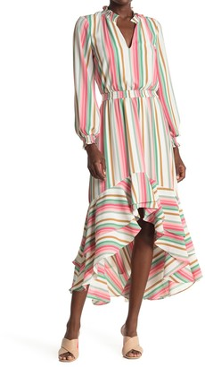 1 STATE Striped Long Sleeve High/Low Dress