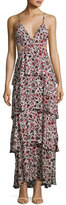 A.L.C. Titus Sleeveless Tiered Floral Silk Maxi Dress, Multicolor