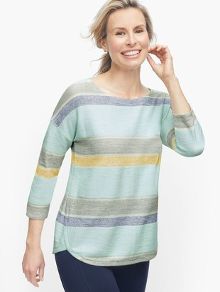 Talbots Textured Dropped Shoulder Pullover - Stripe