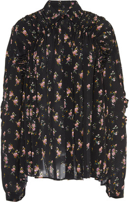 Preen Line Winni Ruffled Floral-Print Crepe De Chine Top
