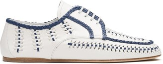 Prada Braided Trim Woven Lace-Up Shoes