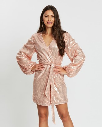 Missguided Wrap Balloon Sleeve Sequinned Dress