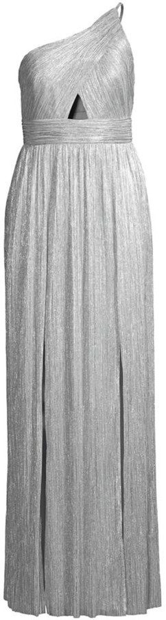 Aidan Mattox Metallic One-Shoulder Knit Gown