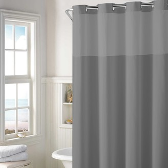 Hookless Plain Weave Shower Curtain & Water Resistant Liner