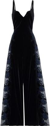 Myla Devonshire Place Embroidered Tulle-paneled Velvet Wide-leg Jumpsuit
