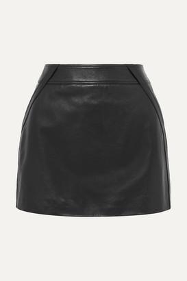 Saint Laurent Leather Mini Skirt - Black