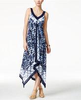 Style&Co. Style & Co Printed Handkerchief-Hem Maxi Dress, Created for Macy's