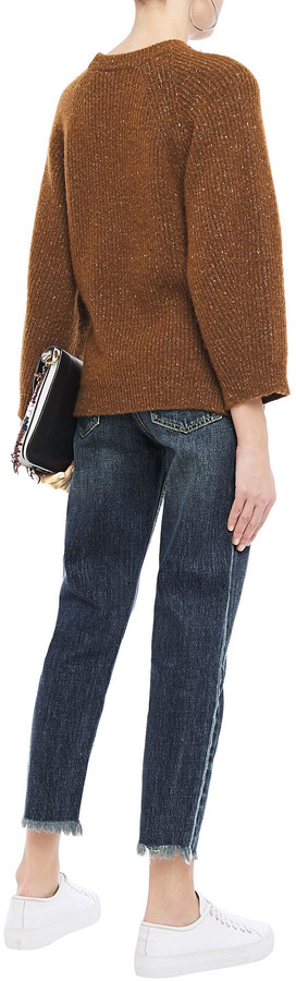 Thumbnail for your product : Current/Elliott The Exposed Fly Cropped Distressed High-rise Slim-leg Jeans