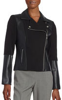 Calvin Klein Faux Leather Trimmed Motorcycle Jacket