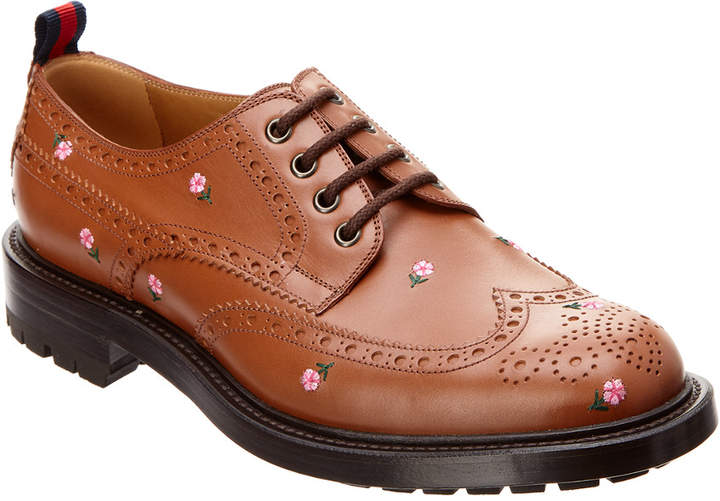 Gucci Flower Embroidered Brogue Leather Oxford