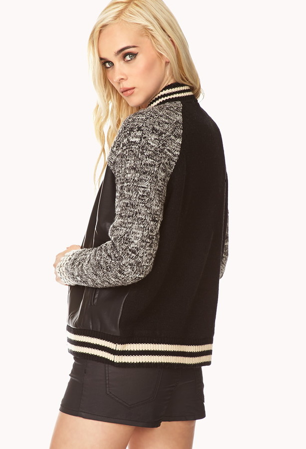 Forever 21 Warm Cable Knit Varsity Jacket