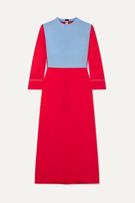 Marni Two-tone Crepe Midi Dress - Red