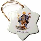 3dRose orn_149832_1 Real Women Love Kali Hindu Goddess Snowflake Porcelain Ornament, 3-Inch