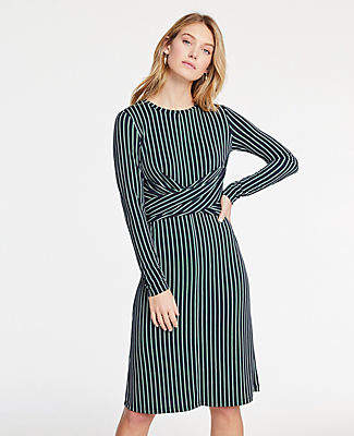 48ec35ca5ae Ann Taylor Petite Striped Matte Jersey Wrap Dress