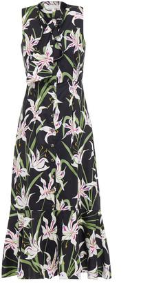 Borgo de Nor Meta Fluted Floral-print Cotton-poplin Midi Dress