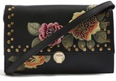 Topshop Robyn Floral Faux Leather Crossbody Bag - Black