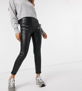 New Look Petite biker leather look legging in black