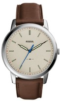 Fossil Men's Minimalist Leather Strap Watch, 44Mm