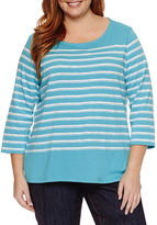 Liz Claiborne 3/4 Sleeve Boat Neck T-Shirt-Plus