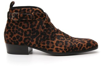 Saint Laurent Animal Print Ankle Boots