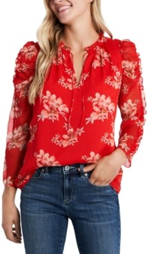 CeCe Ruffled Printed Blouse