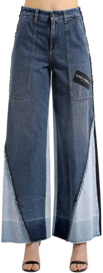 Dolce & Gabbana Patchwork Logo Wide Leg Denim Jeans