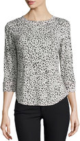 Rebecca Taylor Dot-Print Raglan Tee, Malt Ball/Black