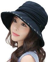 Siggi UPF50+ Foldable Bucket Boonie Hat Fishing Hiking Sunhat w/ Chin Cord for Women Navy Blue