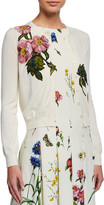 Oscar de la Renta Floral-Embroidered Button-Front Cardigan