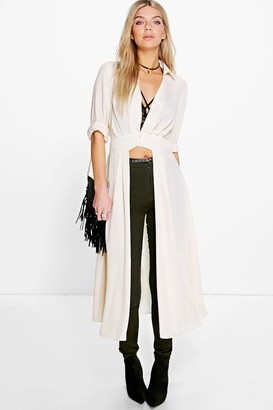 boohoo Plunge Neck Split Maxi Shirt