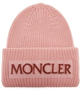 Moncler Velvet-logo Wool Beanie Hat - Light Pink