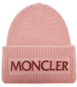 Moncler Velvet-logo Wool Beanie Hat - Womens - Light Pink