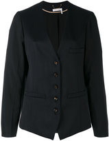 Chloé collarless blazer - women - Cotton/Viscose/Virgin Wool - 38