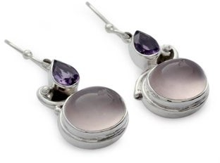 Novica Handmade Sterling Silver 'India Dawn' Amethyst and Rose Quartz Earrings