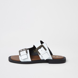Ravel River Island Womens White leather double buckle sandals