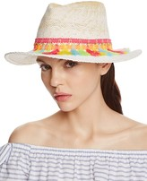 Aqua Straw Fedora with Tassel Trim - 100% Exclusive