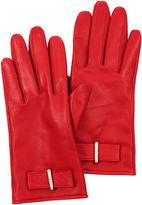Karen Millen Leather Bow Glove - Red