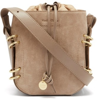 See by Chloe Alvy Ring-embellished Suede And Leather Bucket Bag - Grey