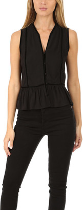 Frame Trim Peplum Sleeveless Top