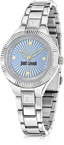 Just Cavalli Just Indie Silver Tone Stainless Steel Women's Watch w/Blue Dial