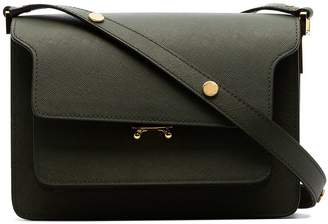 Marni green trunk medium leather shoulder bag