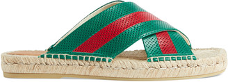 Gucci Men's leather slide sandal with Web