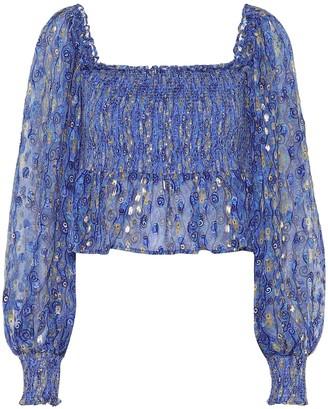 Rixo Eloise printed silk lame blouse