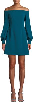 Jill Stuart Crepe Off-the-Shoulder Long-Sleeve Dress