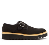Stella McCartney Monk-strap canvas raised-sole shoes